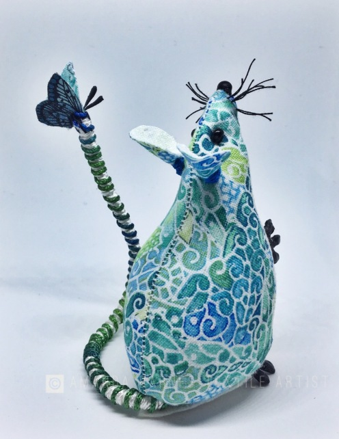 Green and blue fabric mouse