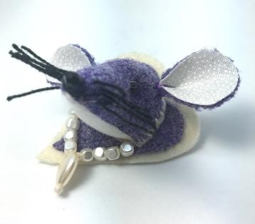 Purple Tweed Mouse Brooch